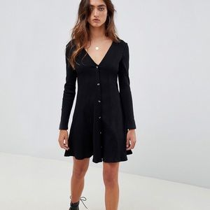 asos ribbed button down swing dress